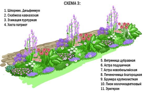 Готовые цветники схема