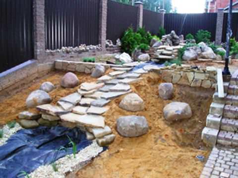 Установить и укрепить камни для рокария